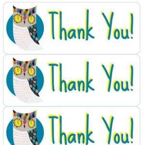 Other - Thank You Stickers 90 Owl Label Card Tag Owls  Bus